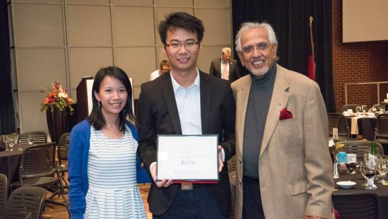 Jia Ge received the Brahm P. Verma Award for Academic and Leadership Excellence