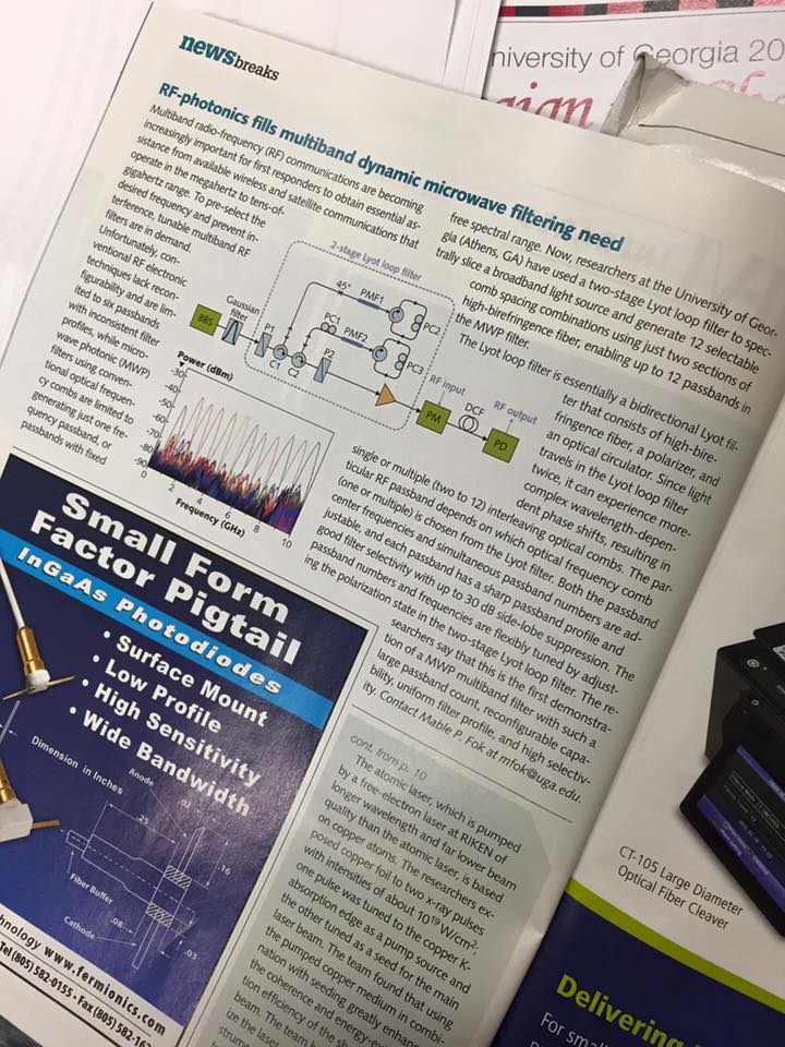 """""""Reconfigurable multiband RF Filter"""" is reported by Laser Focus World"""