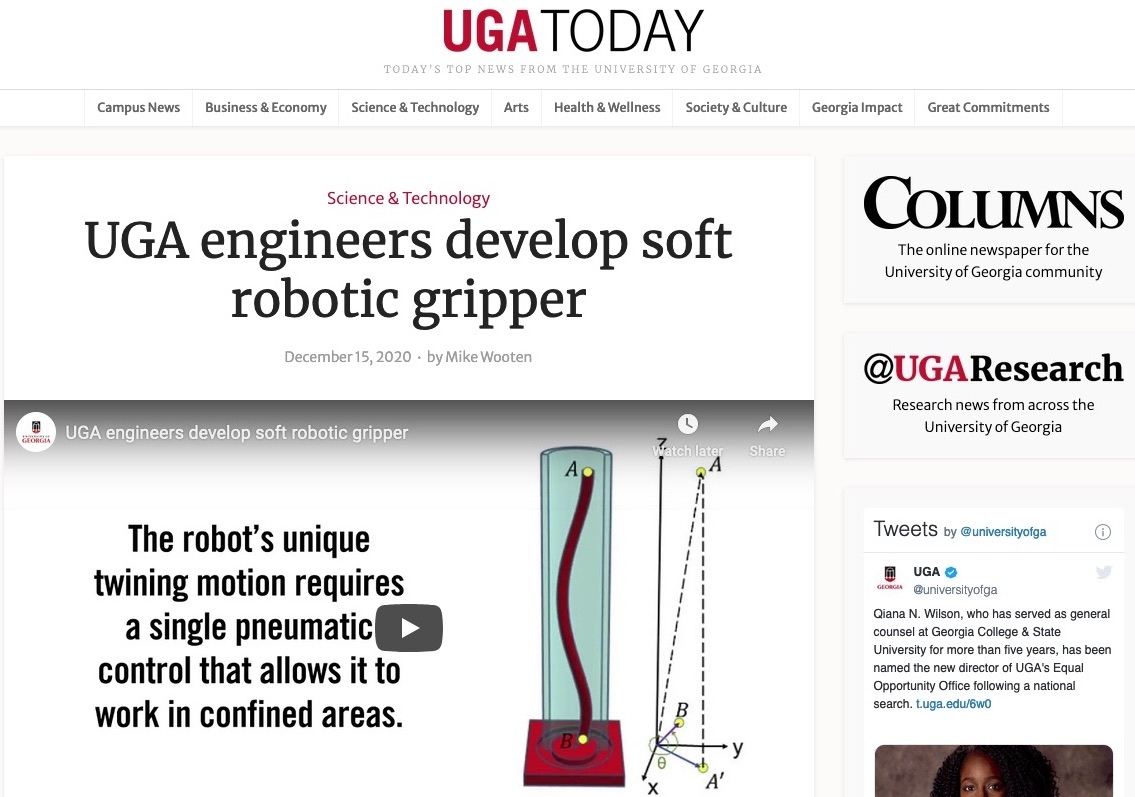 Our Twining Plant Inspired Soft Robot is Highlighted by UGA Today